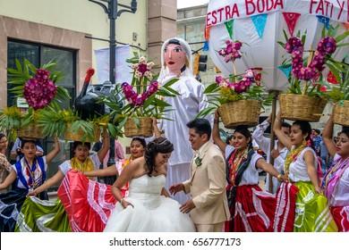 OAXACA, MEXICO - Oct 21, 2016: Typical Regional Mexican Wedding Parade know as Calenda de Bodas - Oaxaca, Mexico