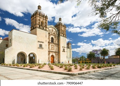 OAXACA, MEXICO - OCT 29TH, 2017: Facade of the Santo Domingo colonial church in Oaxaca, Mexico