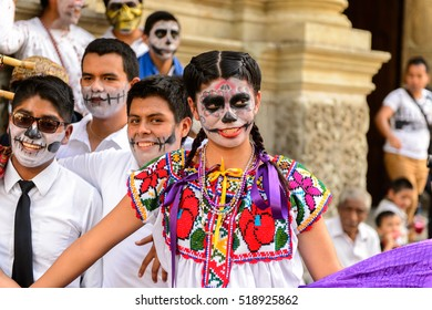 OAXACA, MEXICO - OCT 31, 2016: Unidentified girl dressed and dances for the Day of the Dead (Dia de los Muertos), national Mexican holiday, UNESCO Intangible Cultural Heritage of Humanity