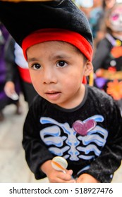 OAXACA, MEXICO - OCT 31, 2016: Unidentified boy dressed as a pirate for the Day of the Dead (Dia de los Muertos), national Mexican holiday, UNESCO Intangible Cultural Heritage of Humanity