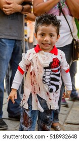OAXACA, MEXICO - OCT 31, 2016: Unidentified boy dressed for the Day of the Dead (Dia de los Muertos), national Mexican holiday, UNESCO Intangible Cultural Heritage of Humanity