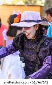 OAXACA, MEXICO - OCT 31, 2016: Unidentified woman painted for the Day of the Dead (Dia de los Muertos), national Mexican holiday, UNESCO Intangible Cultural Heritage of Humanity