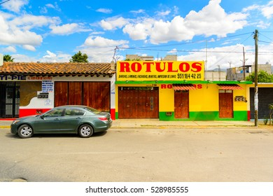 OAXACA, MEXICO - OCT 31, 2016: Typical colorful architecture of Oaxaca de Juarez, Mexico. The name of the town is derived from the Nahuatl name Huaxyacac
