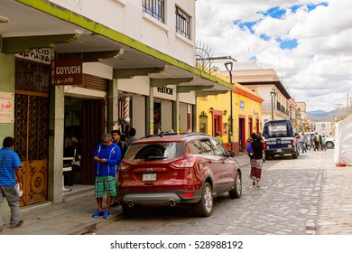OAXACA, MEXICO - OCT 31, 2016: Architecture of Oaxaca de Juarez, Mexico. The name of the town is derived from the Nahuatl name Huaxyacac
