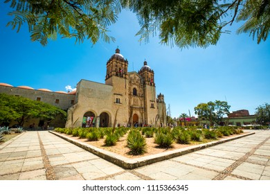 Oaxaca, Mexico - October 7, 2017: Front exterior view of the Santo Domingo Temple in the center of the capital of Oaxaca in southern Mexico