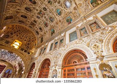 Oaxaca, Mexico-2 December 2018: Interiors of a Landmark Santo Domingo Cathedral in historic Oaxaca city center