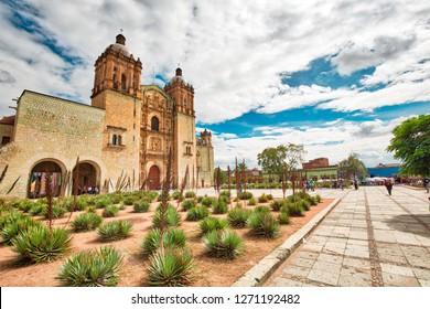 Oaxaca, Mexico-2 December 2018: Landmark Santo Domingo Cathedral in historic Oaxaca city center