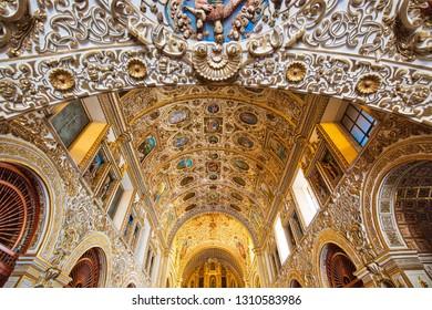 Oaxaca, Mexico-2 December 2018: Landmark Santo Domingo Cathedral interiors in historic Oaxaca city center