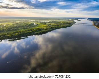 Ob river landscape. Ships sailing down the river. Siberia, Russia