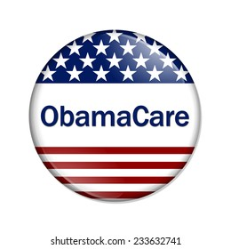 ObamaCare Button , A white button with red stripes and stars with words ObamaCare isolated on a white background