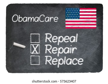 Obamacare health plan choice of repair written in chalk on a chalky natural slate blackboard