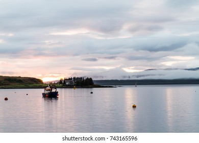 oban harbour Scotland at sundown