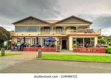 Oban / New Zealand - March 26 2018: Front View of the South Sea Hotel in Oban, Stewart Island, the Southernmost Town in New Zealand