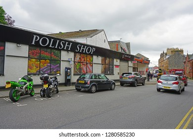 OBAN, SCOTLAND -15 JUL 2017- View of a Polish Shop in Oban, in Argyll and Bute. Immigration from Poland in the United Kingdom played a role in the Brexit vote.