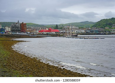 OBAN, SCOTLAND -15 JUL 2017- View of the harbor town of Oban, in Argyll and Bute, known as the seafood capital of Scotland.