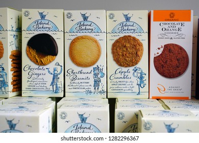OBAN, SCOTLAND -15 JUL 2017- View of boxes of Island Bakery shortbread Scottish cookies for sale in Oban, in Argyll and Bute, Scotland.