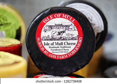 OBAN, SCOTLAND -15 JUL 2017- View of Isle of Mull Scottish cheese for sale in Oban, in Argyll and Bute, Scotland.
