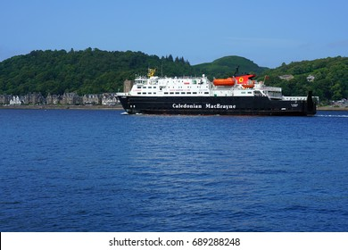 OBAN, SCOTLAND -15 JUL 2017- A Caledonian MacBrayne (CalMac) ferry in the harbor of Oban, a town in Argyll and Bute known as the seafood capital of Scotland.