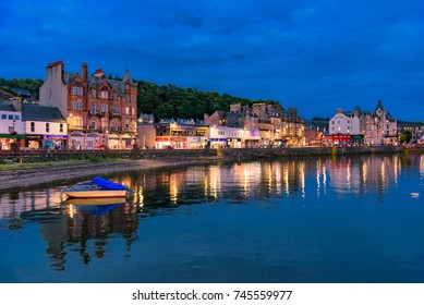 OBAN, SCOTLAND -15 JUL 2017- View of the harbor town of Oban at Night  in Argyll and Bute, known as the seafood capital of Scotland.