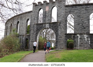 Oban, Scotland, April 7th 2019: Entrance to McCaig's Tower in Oban, Scotland