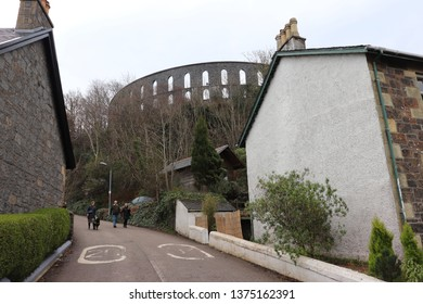 Oban, Scotland, April 7th 2019: Path leading to McCaig's Tower in Oban, Scotland