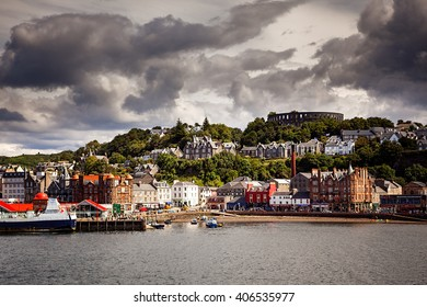 OBAN, SCOTLAND - JULY 19, 2009: The harbour and town of Oban on the west coast of Scotland, seen from the ferry going to Mull.