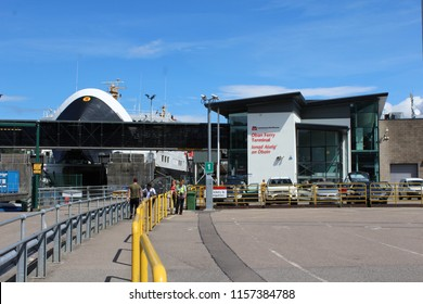 OBAN, SCOTLAND, JULY 25 2018: View of Oban ferry Terminal, in Argyll and Bute in Scotland. The port is known as 'The Gateway to the Isles' and is Caledonian MacBrayne's busiest terminal.