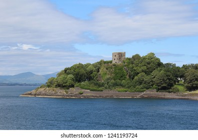 OBAN, SCOTLAND, JULY 25 2018: View of the 15th c ruins of Dunollie Castle near Oban. The castle is open to the public as part of the Dunollie Museum, a visitor attraction and social enterprise.