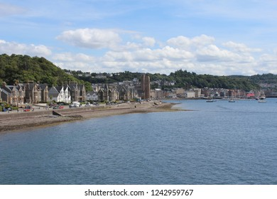 OBAN, SCOTLAND, JULY 25 2018: View of the town of Oban from Oban bay. Oban is a port in western Scotland and the gateway to the Hebridean islands.