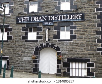 OBAN, SCOTLAND - July 9th 2015: Facade and signage for the Oban Distillery. It's one of the smallest distilleries in Scotland. Scotland, UK.