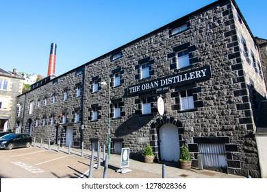 Oban, Scotland - May 12, 2018: The Oban Distillery in Oban, Scotland