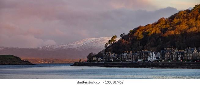 Oban, Scotland with mountains