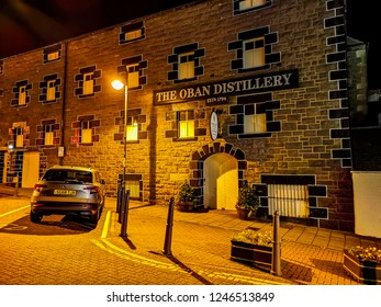 OBAN / SCOTLAND - OCTOBER 10 2018 : The Oban distillery is producing in the middle of the town.