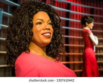 OBANGKOK, THAILAND - JANUARY 08, 2019: Television host Oprah Winfrey wax figure, Madame Tussaud Museum
