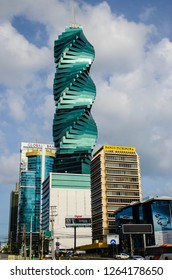 "Obarrio, Panama City/Panama-01/01/2017: This is the F&F Tower, very famous tower known for its amazing architecture and shape, Also known as ""El Tornillo""  which means ""The Screw"" in English."
