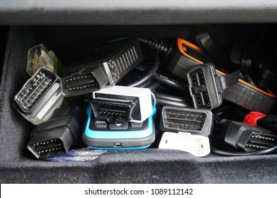 OBD2 professional car diagnostic scanners in glove compartment