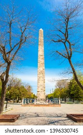 Obelisk of Theodosius (Dikilitas) with hieroglyphs in Sultanahmet Square, Istanbul, Turkey. Ancient Egyptian obelisk in Istanbul City