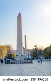 The Obelisk of Theodosius and minarets of the Blue Mosque, Istanbul, Turkey. Obelisk of Theodosius is the Ancient Egyptian obelisk of Pharaoh Thutmose III. Obelisk of Theodosius on a sunny summer day.