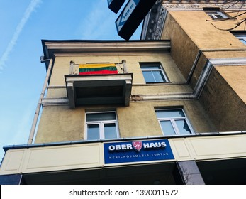 Ober haus sign on window, Lithuania, Vilnius 2019.02.20