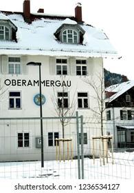 Oberammergau / Bavaria / Germany - December 25,2007 : Oberammergau train station covered with snow  in Winter.