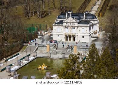 OBERAMMERGAU, GERMANY - APRIL 14: castle of linderhof in south of bavaria castle built by Ludwig II  april 14 2013,  in oberammergau, germany