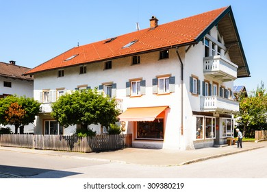 OBERAMMERGAU, GERMANY - JULY 2, 2015: House in Oberammergau,  a municipality in of Garmisch-Partenkirchen  famous for the NATO School.