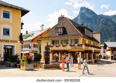 OBERAMMERGAU, GERMANY - JULY 2, 2015: Street in Oberammergau,  a municipality in of Garmisch-Partenkirchen  famous for the NATO School.
