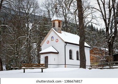 Oberammergau, Germany, March 22, 2018 - The little church/chapel St. Gregor during winter covered in snow