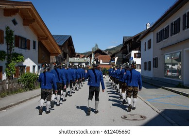 OBERAMMERGAU, GERMANY - MAY 05, 2015: Street in Oberammergau, a municipality in of Garmisch-Partenkirchen famous for the NATO School. Festival.