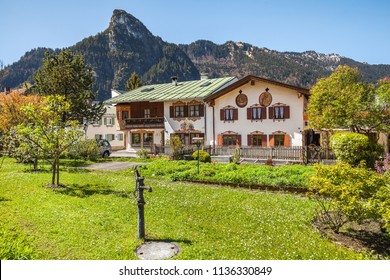 OBERAMMERGAU, GERMANY - May 10, 2017: Beautiful houses in Oberammergau in Bavarian Alps.