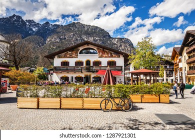 OBERAMMERGAU, GERMANY - May 10, 2017: Beautiful houses in Oberammergau in Bavarian Alps.