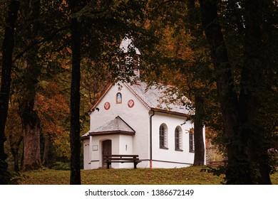 Oberammergau, Germany, October 2, 2018 - The little church/chapel St. Gregor in the woods in Bavaria during fall