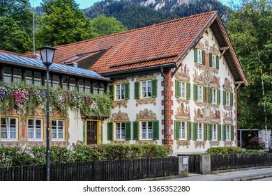 OBERAMMERGAU, GERMANY - September 25, 2011: Hand-painted house in the commune of Oberammergau, in Bavaria.