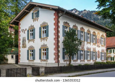 OBERAMMERGAU, GERMANY - September 25, 2011: A hand-painted house in the commune of Oberammergau, in Bavaria.